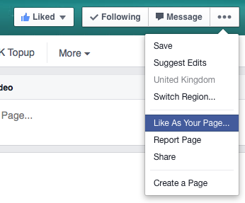 How To Like Things As Your Facebook Page
