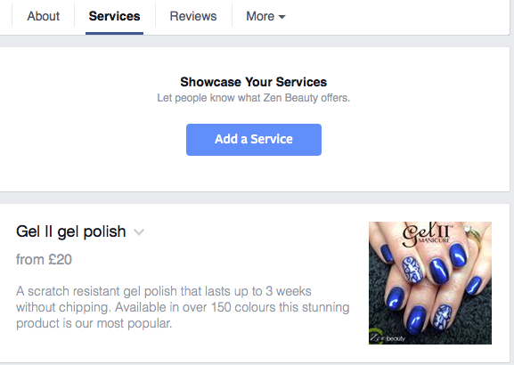 Example of services for Facebook